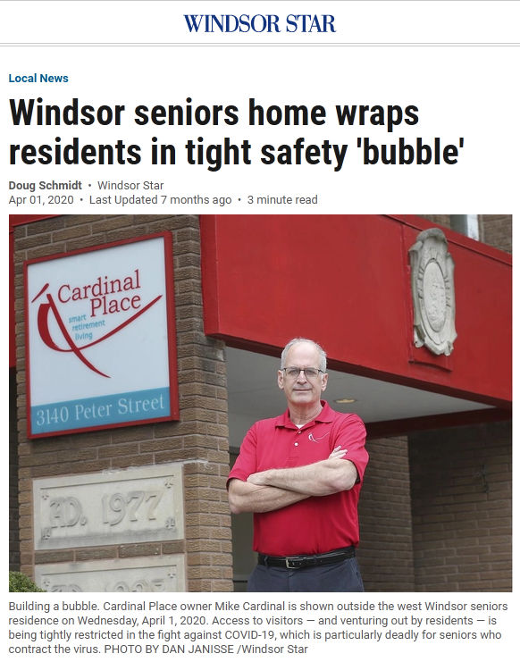 Windsor seniors home wraps residents in tight safety 'bubble'